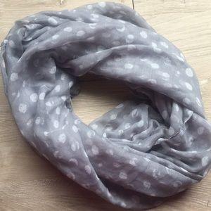Grey polka dot infinity scarf